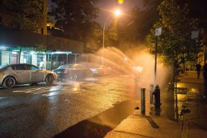 Even though the Bronx is blessed with park-land, a river and beaches, Bronxites cool off the streets in the summer by taking a plunge through the open hydrants.  This summertime tradition delights children and drains water-pressure.