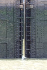 The massive steel doors of the canal locks, made in the USA... can't say that much anymore