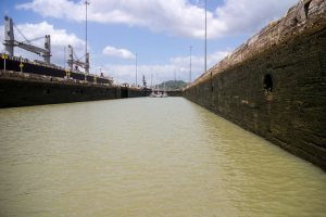 One of the locks of the Panama Canal.  Completed in 1914, there are ships that are now too big for these massive locks and they are in the process of building new ones to accommodate the traffic.